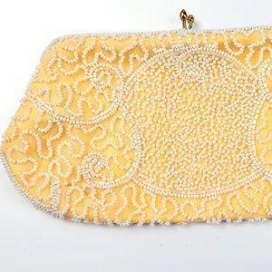 Walborg Handbag Clutch Yellow White Beads Hutzlers